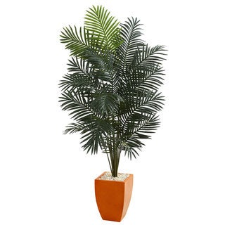"6.5"" Paradise Artificial Palm Tree in Orange Planter"