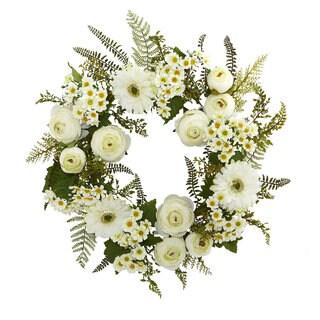 "24"" Mixed Daisy and Ranunculus Wreath"
