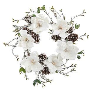 """24"""" Snowed Magnolia / Pine Cone Wreath"""