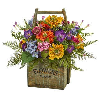Mixed Floral Artificial Arrangement in Wood Basket