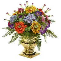 "14"" Mixed Floral Artificial Arrangement in Gold Urn"