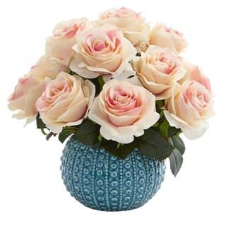 """11.5"""" Rose Artificial Arrangement in Blue Ceramic Vase"""