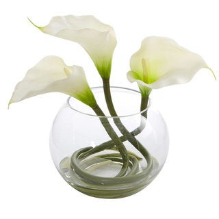 "9"" Calla Lily Artificial Arrangement in Rounded Glass Vase"