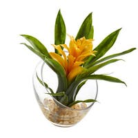 """8"""" Tropical Bromeliad in Angled Vase Artificial Arrangement"""