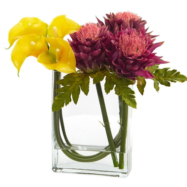 Shop 12 Calla Lily And Artichoke In Rectangular Glass Vase