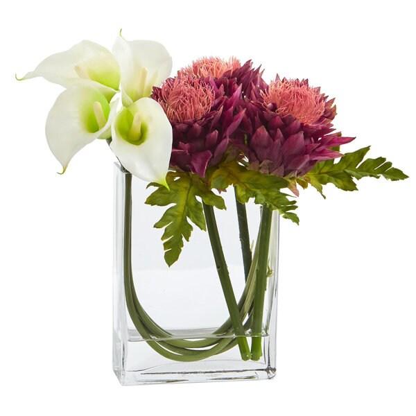 "12"" Calla Lily and Artichoke in Rectangular Glass Vase Artificial Arrangement"