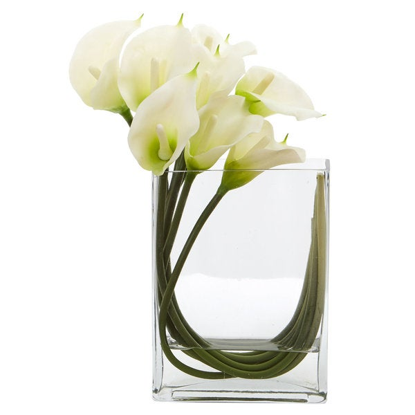 Shop 12 Calla Lily In Rectangular Glass Vase Artificial Arrangement