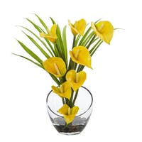"15.5"" Calla Lily and Grass Artificial Arrangement in Vase"