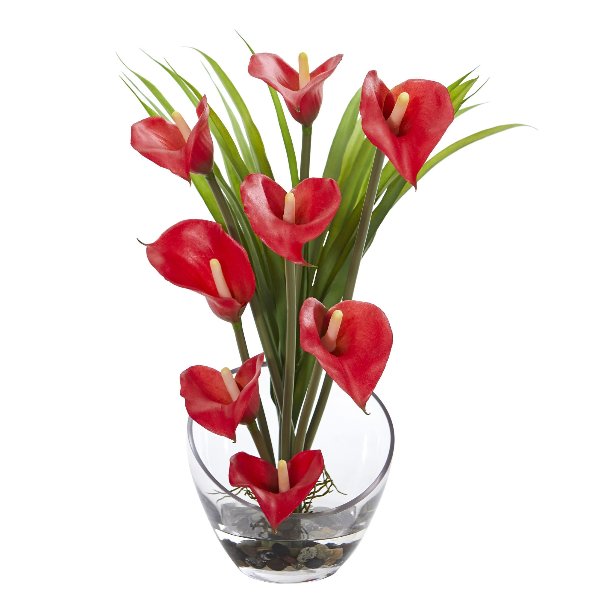 Shop 15 5 Calla Lily And Grass Artificial Arrangement In Vase