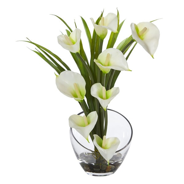Shop 155 Calla Lily And Grass Artificial Arrangement In Vase On