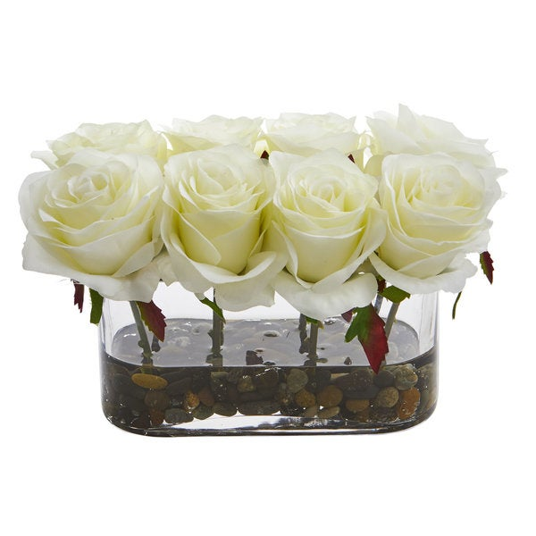 Shop 55 Blooming Roses In Glass Vase Artificial Arrangement On