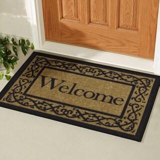 "Ottomanson Ottohome Collection Rectangular Beige Welcome Doormat (20"" X 30"") - 1'6"" x 2'6"""