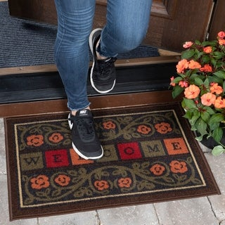 "Ottomanson Ottohome Collection Rectangular Multicolor Welcome Doormat (20"" X 30"")"