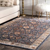 nuLoom Traditional Oriental Navy/ Brown/ Off-white Floral Border Area Rug (5' x 8')