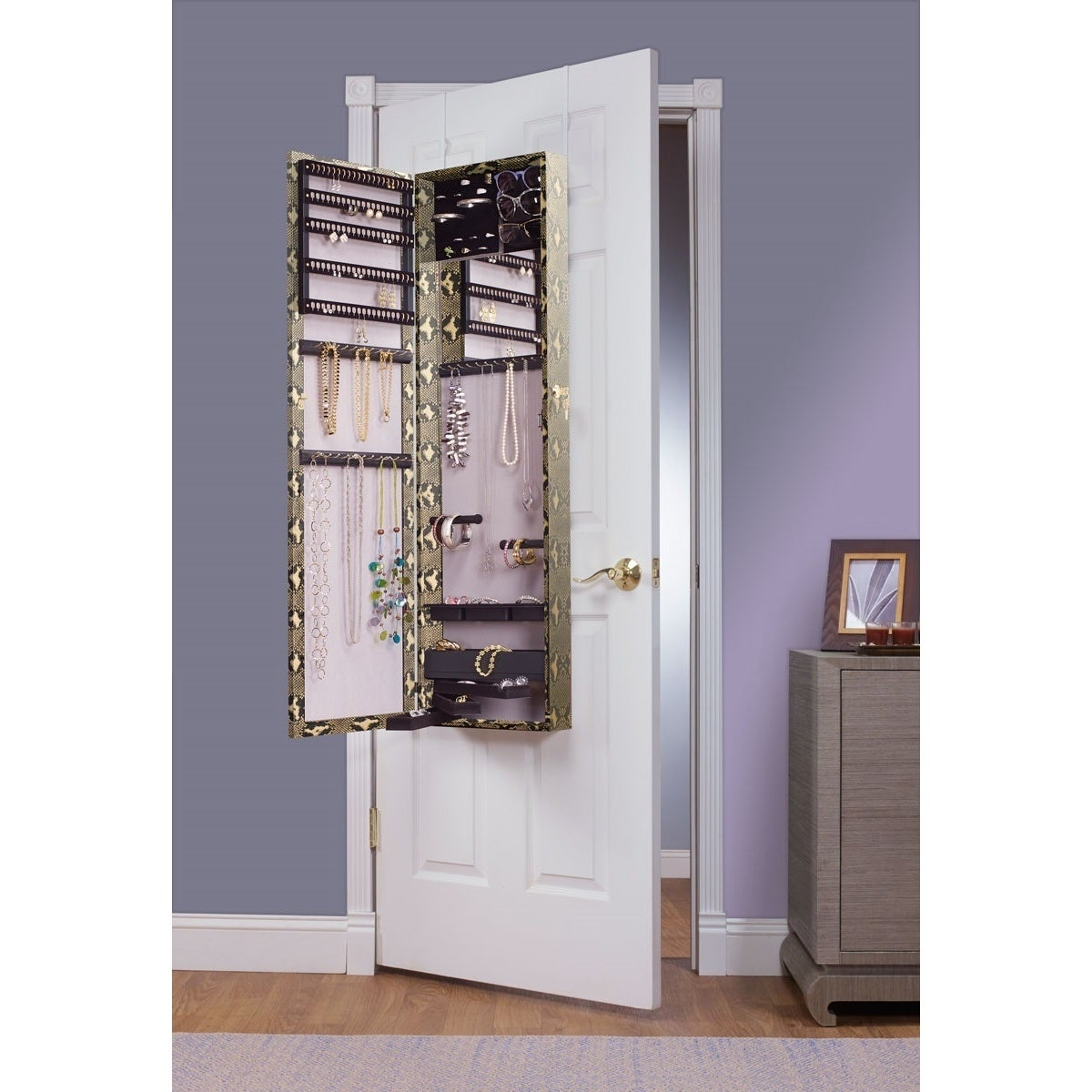 Gold Snake Mirrored Over the Door Jewelry Armoire (Gold)
