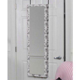 Black and White Floral Mirrored Over the Door Jewelry Armoire