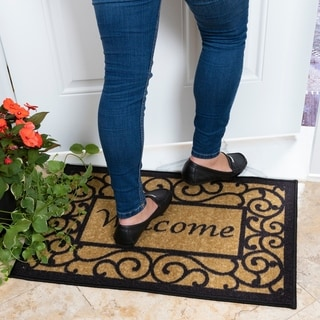 "Ottomanson Ottohome Collection Rectangular Beige Welcome Doormat (20"" X 30"") - 20"" x 30"""