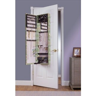 Silver Floral Mirrored Over the Door Jewelry Armoire