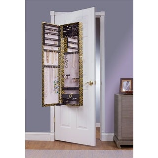Leopard Mirrored Over the Door Jewelry Armoire