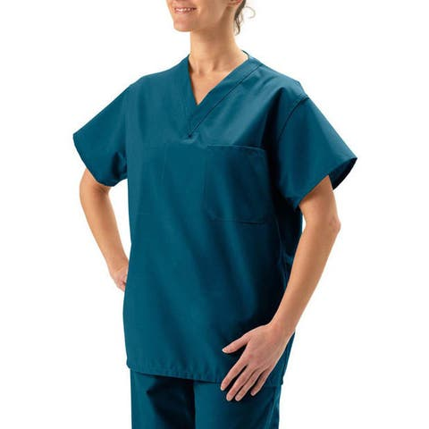 Medline Unisex Reversible Caribbean Blue Scrub Top