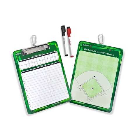 GoSports Baseball & Softball Coach Dry Erase Lineup and Diamond Field Clipboard