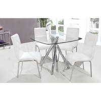 Best Master Furniture 5 Pcs Square Glass Dinette Set