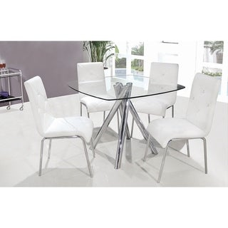 Best Master Furniture 5 Pcs Square Glass Dinette Set (2 options available)