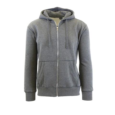 Men's Fleece Lined Zip-Up Hoodies With Thermal Lined Hood