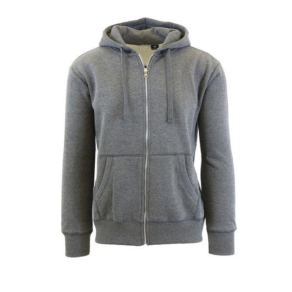 Men's Fleece Lined Zip-Up Hoodies With Thermal Lined Hood