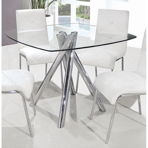 Best Master Furniture Silvertone Square Glass Dining Table - Silver
