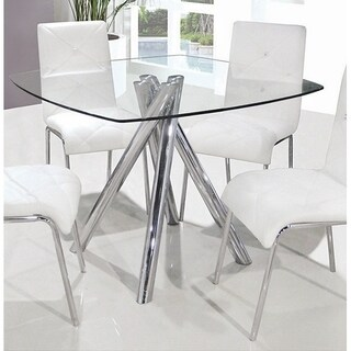 Best Master Furniture Contemporary Silver/Clear Chrome/Glass Square Dining Table
