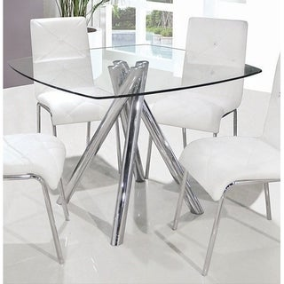 Best Master Furniture Square Glass Dining Table   Silver