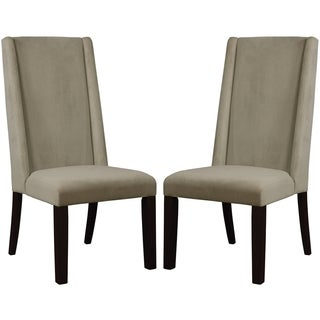 Wing-back Design Beige Fabric Upholstery Wood Frame Parsons Dining Chairs (Set of 2)