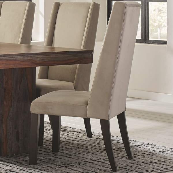 Wing Back Ash/ Barley Velvet Fabric/ Wood Parson Dining Chairs (Set Of 2