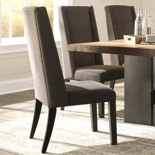 Wing Back Ash Grey/ Brown Wood/ Fabric Parsons Dining Chairs (Set Of 2