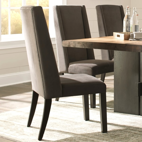 Shop Wing Back Ash Grey Brown Wood Fabric Parsons Dining