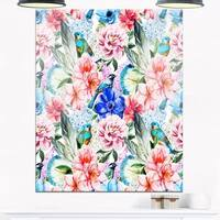 Colorful Flowers and Birds Watercolor - Large Flower Glossy Metal Wall Art
