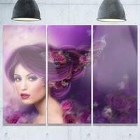 Woman with Purple Hair - Portrait Digital Art Glossy Alumimium 36Wx28H