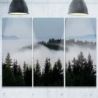 Dark Trees and Fog Over Mountains - Landscape Glossy Metal Wall Art - 36Wx28H