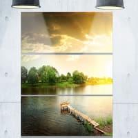Designart - Lake Under Evening Sun - Landscape Photo Glossy Metal Wall Art