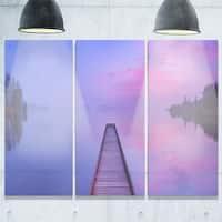 Designart - Jetty in a Dawn Lake - Wooden Sea Bridge Glossy Metal Wall Art