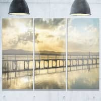 Designart - Long Jetty Foreshore Reserve Panorama - Sea Bridge Glossy Metal Wall Art