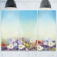 Soft Flowers in Spring Background - Floral Glossy Metal Wall Art - 36Wx28H