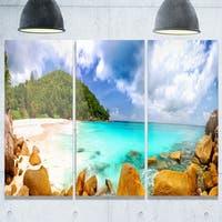 Designart - Seychelles Beach Panorama - Seascape Photo Glossy Metal Wall Art