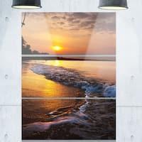 Designart - White Foaming Waves at Sunset - Modern Beach Glossy Metal Wall Art
