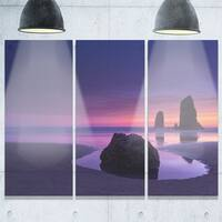 Purple Haystack Rock - Extra Large Seascape Metal Wall At - 36Wx28H