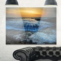 Beach with Rushing White Waves - Modern Beach Glossy Metal Wall Art