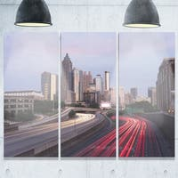 Designart - Atlanta Georgia Rush Hour Traffic at Dusk - Cityscape Glossy Metal Wall Art