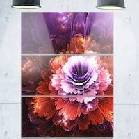 Abstract Pink Fractal Flower - Floral Glossy Metal Wall Art - 36Wx28H