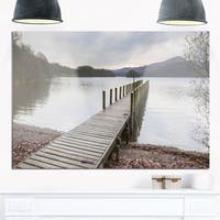 Wooden Jetty on Lake District - Wooden Sea Bridge Glossy Metal Wall Art